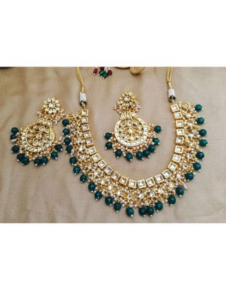 Green Kundan and Pearl Necklace