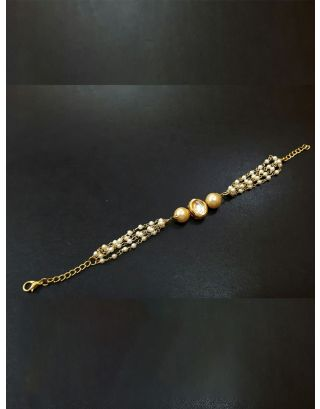 Kundan Bracelet with Pearl String