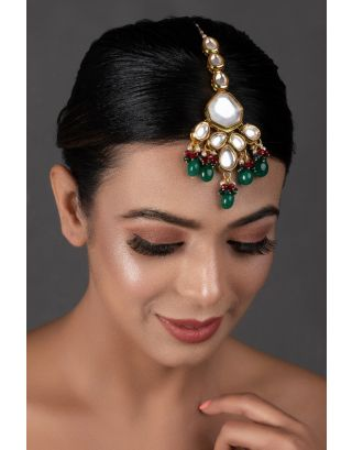 Emerald Beaded Kundan Mang Tikka