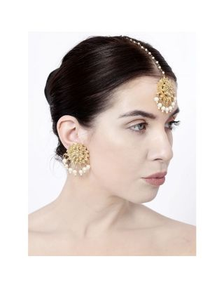 Pearl Kundan Earrings and Mangtika Set