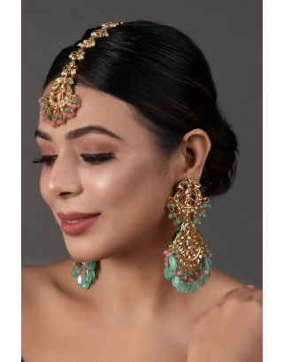 Pink Green Maang Tikka with Earrings