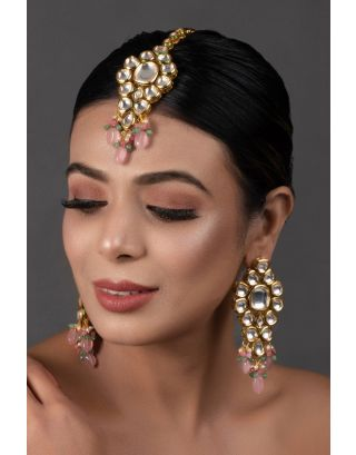 Classic Pink Kundan Maang Tikka with Earrings