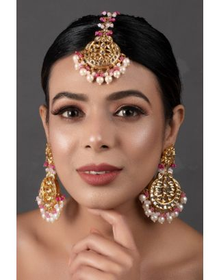 Pearl & Pink Beaded Mang Tikka with Earrings