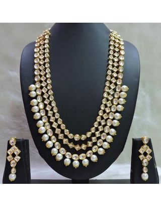 3 Layered Kundan Pearl Necklace set