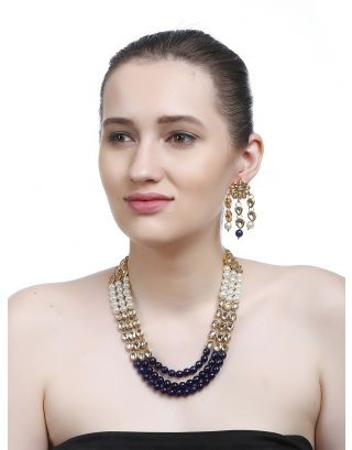 White and Blue Kundan Necklace Earrings Set