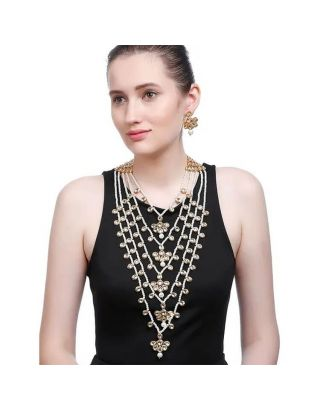 5 Layered Floral Long Kundan Pearl Necklace Set