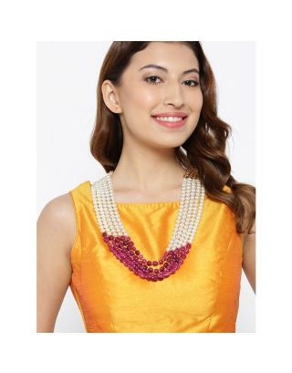 Kundan Pearl Ruby Bead Necklace
