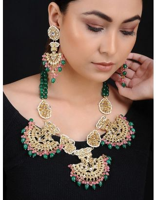 Green Pink Kundan Gold Tone Necklace with Earrings
