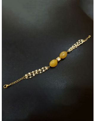 Yellow beaded Kundan Inspired Pearl Bracelet