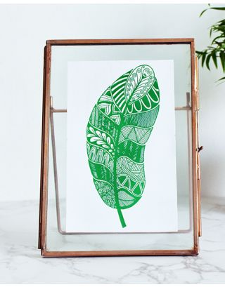 Green Feather Floating Frame