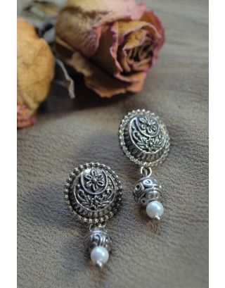 Floral Carving Silver Studs