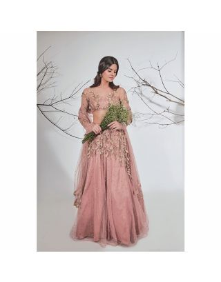 Brown and Pink Lehenga Set with Gold Embroidery
