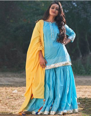 Sky Blue Sharara set