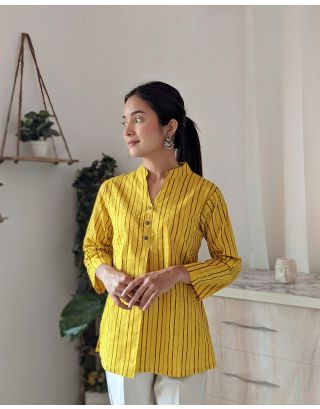 Yellow Front Pleat Striped Top