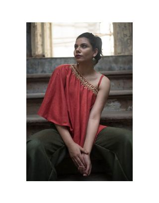 Red One Shoulder Cape Top