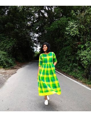 Green Gingham Checkered Dress