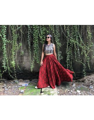 Geometric Printed Croptop with Red Skirt