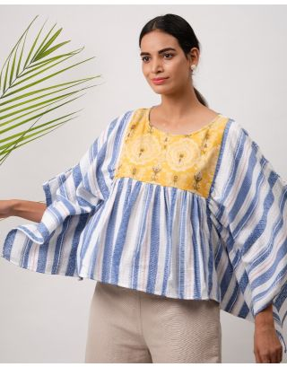 White and Blue Striped Mustard Yoke Top