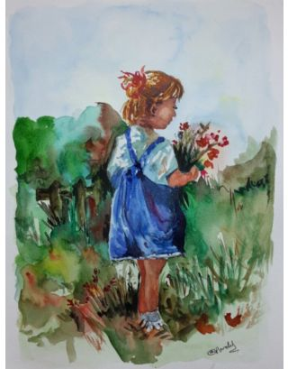 Girl With Flowers Watercolour Painting