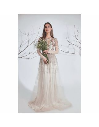 Off White Bead Gold Embroidered Gown