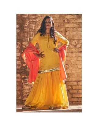 Yellow and Peach Sharara set