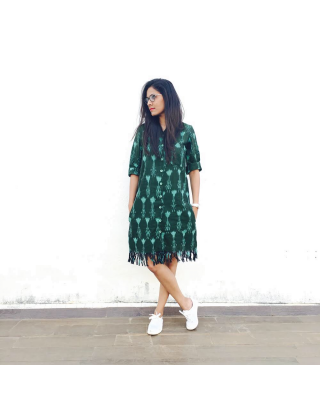 Green Ikat Fringe Dress