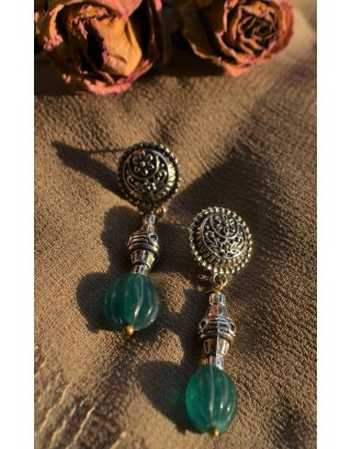 Green Carved Stone Barrel Studs