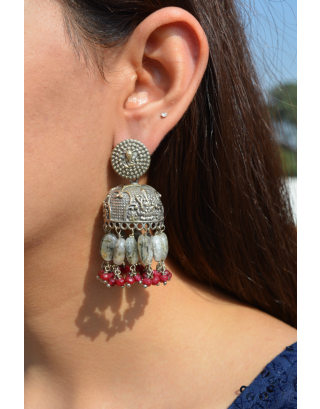 Grey Beads Red Jades Jhumkas