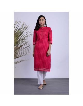 Pink Printed Kurta Pants Set