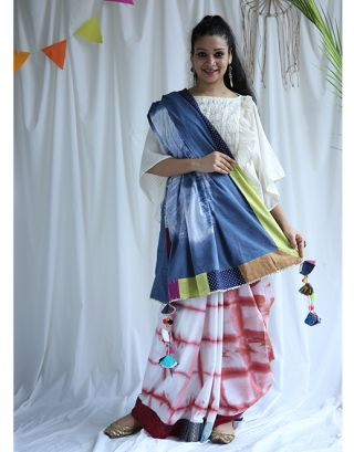 White and Blue Shibori Saree