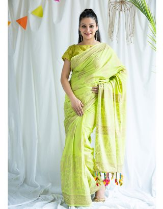 Green Golden Printed Cotton Saree