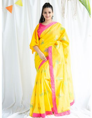 Yellow and Pink Chanderi Saree