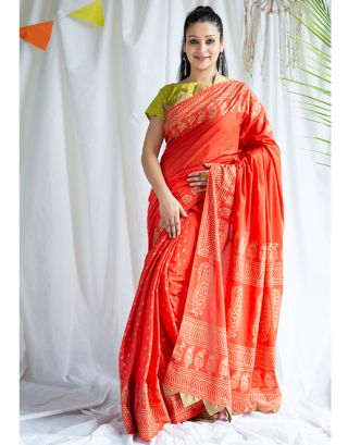 Red Golden Printed Cotton Saree