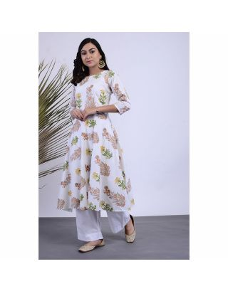 White Floral Printed Kurta Pants Set