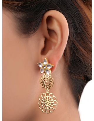 Gold Plated Kundan Floral Earrings