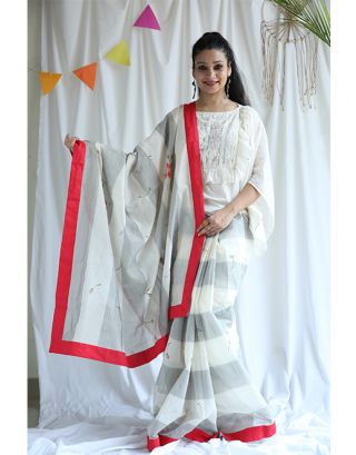 White and Grey Chanderi Saree