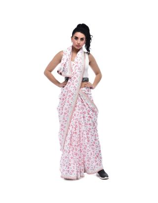 White Heart Printed Mulmul Saree