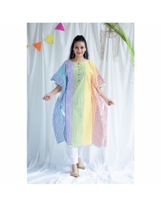 Pastel Multi-Colored Kaftan Set