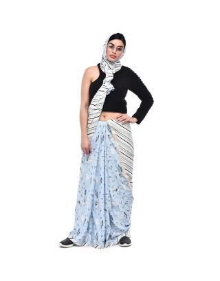 Light Blue Printed Stripes Saree