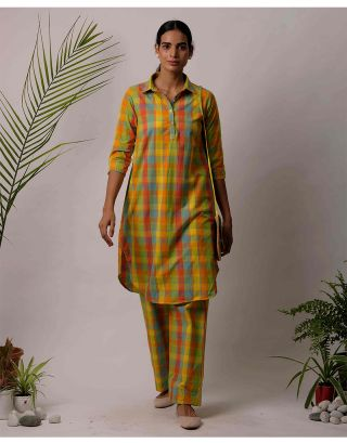 Multicolor Checkered Collar Kurta Pants Set