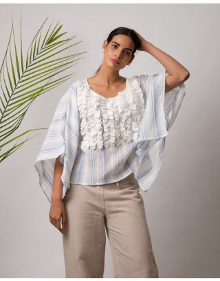White and Blue Ruffle Top