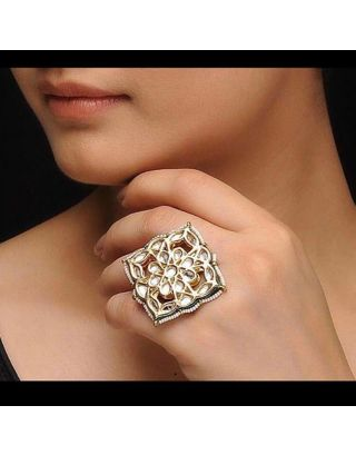 Golden Kundan Ring