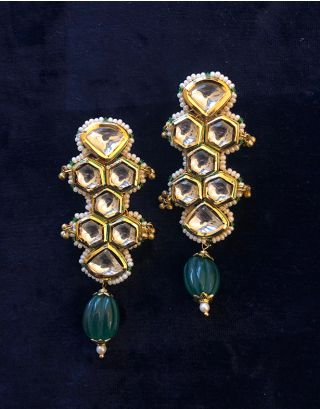 Green Kundan Earrings