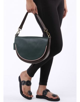 Green & Brown Color Blocked Bag