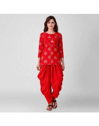 Red and Gold Printed Tunic Dhoti Set