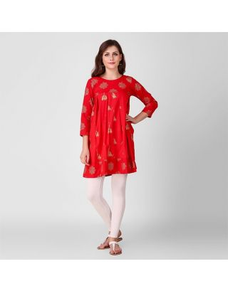 Red and Gold Jhumka Printed Tunic
