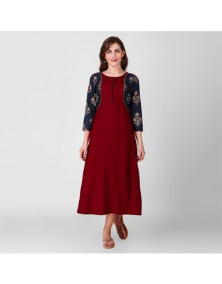 Maroon and Blue Patch Dress