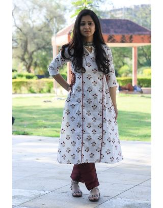 White Cotton Block Printed Kurta
