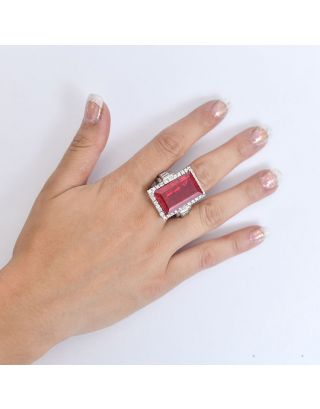 Red Stone Silver Ring