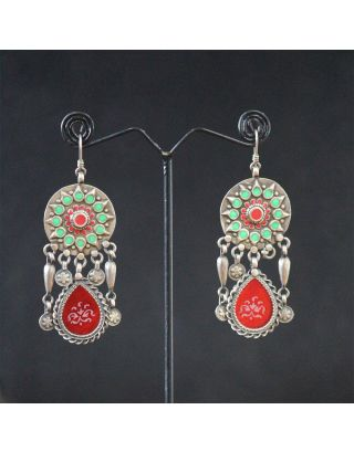 Red and Green Silver Earrings